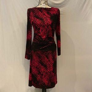 EUC-Joseph Ribkoff black & pink long sleeve dress